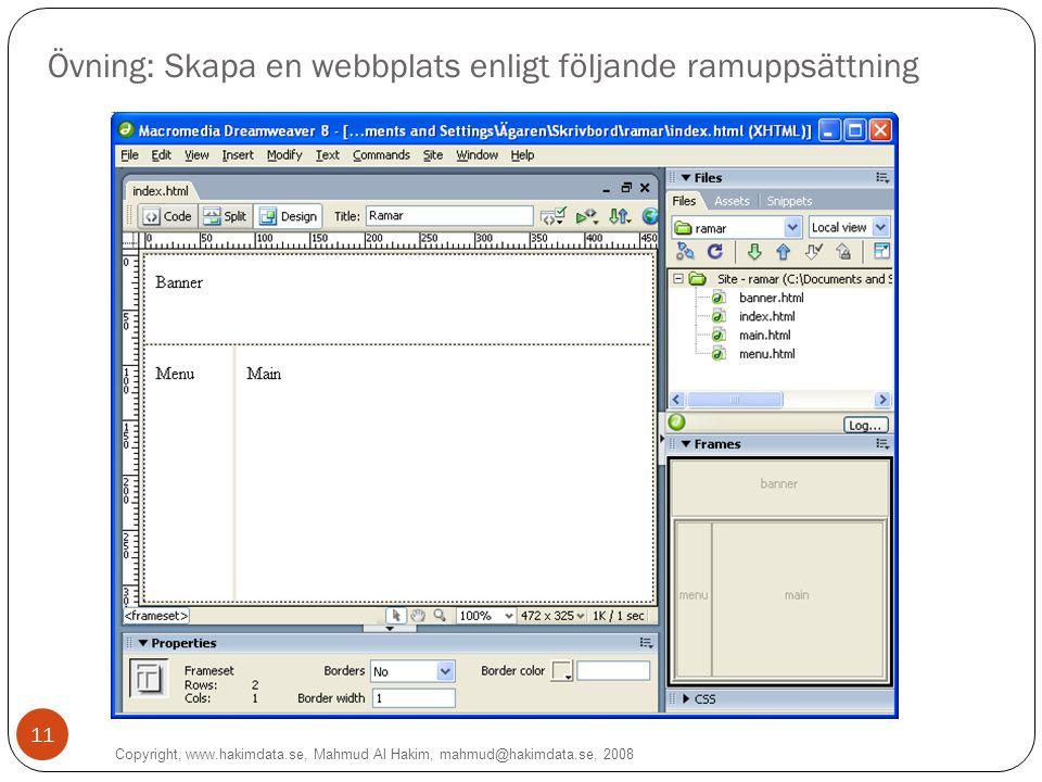 11 Övning: Skapa en webbplats enligt följande ramuppsättning