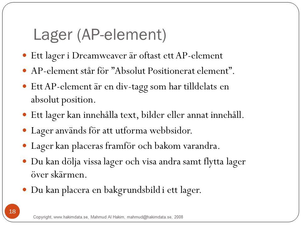 Copyright, www.hakimdata.se, Mahmud Al Hakim, mahmud@hakimdata.se, 2008 18 Lager (AP-element) Ett lager i Dreamweaver är oftast ett AP-element AP-elem
