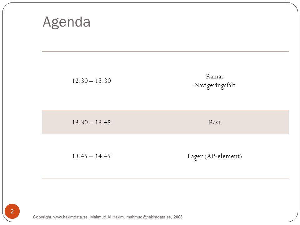 2 Agenda 12.30 – 13.30 Ramar Navigeringsfält 13.30 – 13.45Rast 13.45 – 14.45Lager (AP-element) 2 Copyright, www.hakimdata.se, Mahmud Al Hakim, mahmud@hakimdata.se, 2008