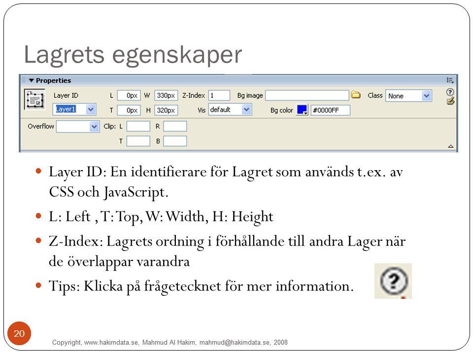 Copyright, www.hakimdata.se, Mahmud Al Hakim, mahmud@hakimdata.se, 2008 20 Lagrets egenskaper Copyright, www.hakimdata.se, Mahmud Al Hakim, mahmud@hakimdata.se, 2008 20 Layer ID: En identifierare för Lagret som används t.ex.