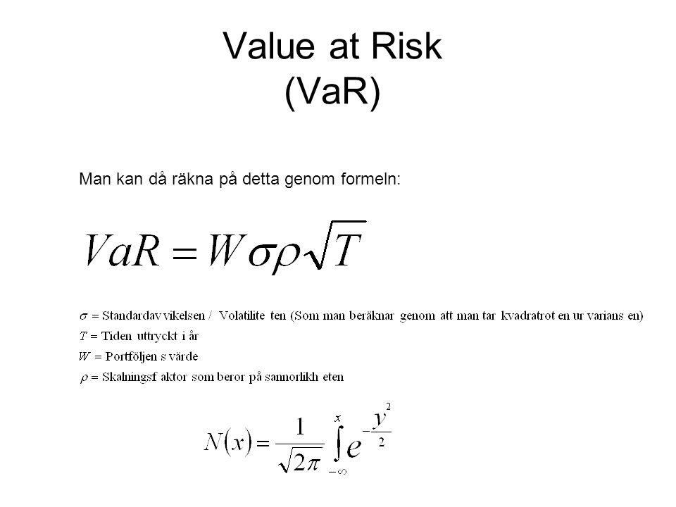 Value at Risk (VaR) Man kan då räkna på detta genom formeln: