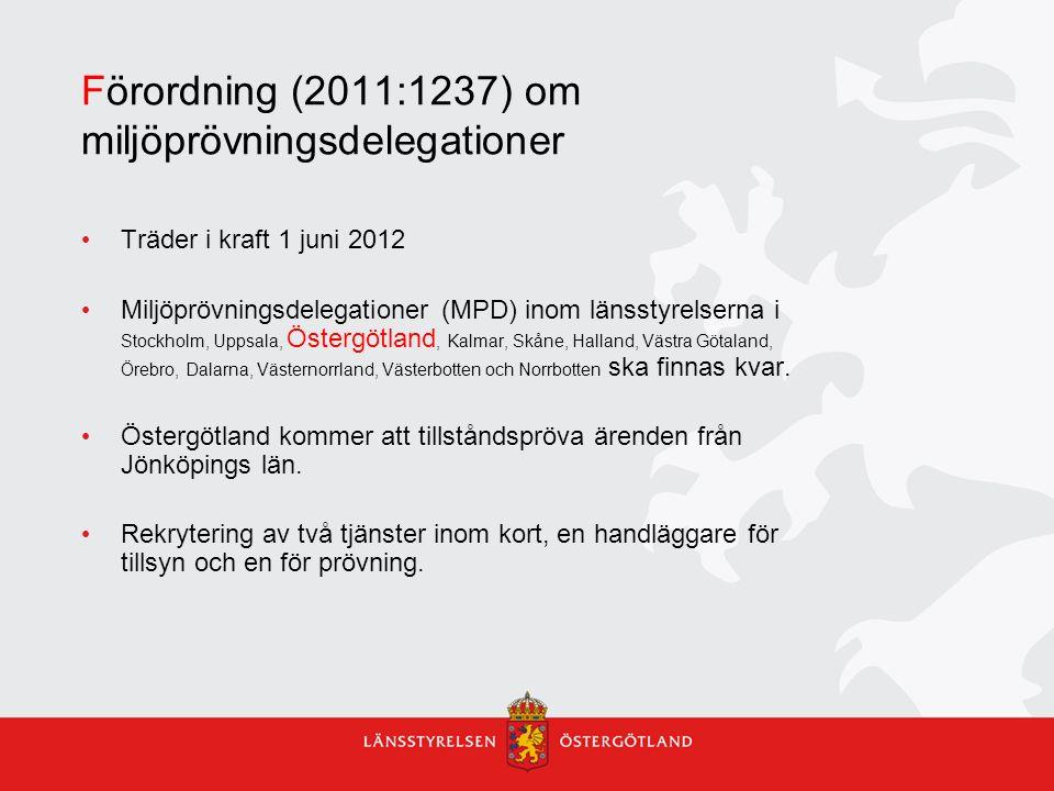 Förordning (2011:1237) om miljöprövningsdelegationer Träder i kraft 1 juni 2012 Miljöprövningsdelegationer (MPD) inom länsstyrelserna i Stockholm, Upp
