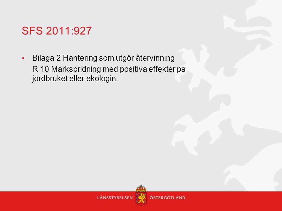 SFS 2011:927 Bilaga 2 Hantering som utgör återvinning R 10 Markspridning med positiva effekter på jordbruket eller ekologin.