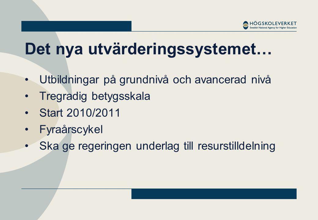 Det nya utvärderingssystemet… Utbildningar på grundnivå och avancerad nivå Tregradig betygsskala Start 2010/2011 Fyraårscykel Ska ge regeringen underlag till resurstilldelning
