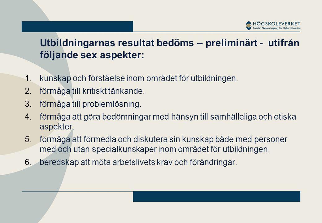 En tregradig betygsskala: Högsta betyg Extra resurstilldelning Mellanbetyg Godkänt, ingen åtgärd Lägsta betyg Examenstillståndet ifrågasätts och kan återkallas