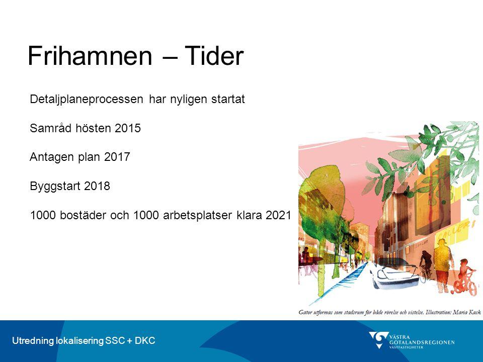 Utredning lokalisering SSC + DKC Frihamnen – Tider Detaljplaneprocessen har nyligen startat Samråd hösten 2015 Antagen plan 2017 Byggstart 2018 1000 bostäder och 1000 arbetsplatser klara 2021
