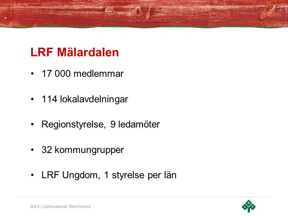 Sid 5 | Lantbrukarnas Riksförbund LRF Mälardalen 17 000 medlemmar 114 lokalavdelningar Regionstyrelse, 9 ledamöter 32 kommungrupper LRF Ungdom, 1 styr