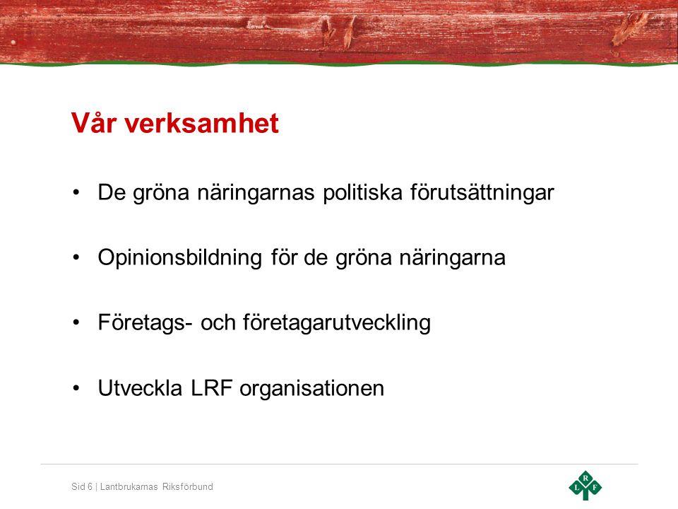 Sid 6 | Lantbrukarnas Riksförbund Vår verksamhet De gröna näringarnas politiska förutsättningar Opinionsbildning för de gröna näringarna Företags- och företagarutveckling Utveckla LRF organisationen
