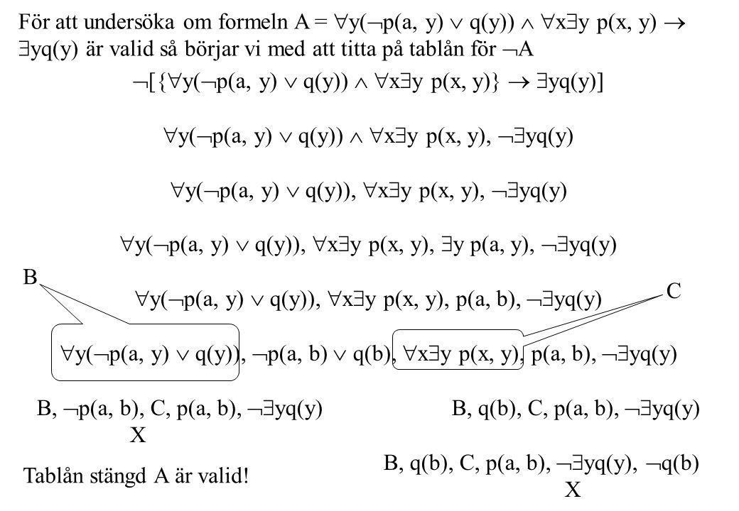 För att undersöka om formeln A =  y(  p(a, y)  q(y))   x  y p(x, y)   yq(y) är valid så börjar vi med att titta på tablån för  A  [{  y(  p(a, y)  q(y))   x  y p(x, y)}   yq(y)]  y(  p(a, y)  q(y))   x  y p(x, y),  yq(y)  y(  p(a, y)  q(y)),  x  y p(x, y),  yq(y)  y(  p(a, y)  q(y)),  x  y p(x, y),  y p(a, y),  yq(y)  y(  p(a, y)  q(y)),  x  y p(x, y), p(a, b),  yq(y)  y(  p(a, y)  q(y)),  p(a, b)  q(b),  x  y p(x, y), p(a, b),  yq(y) B,  p(a, b), C, p(a, b),  yq(y) B, q(b), C, p(a, b),  yq(y) X B, q(b), C, p(a, b),  yq(y),  q(b) X B C Tablån stängd A är valid!