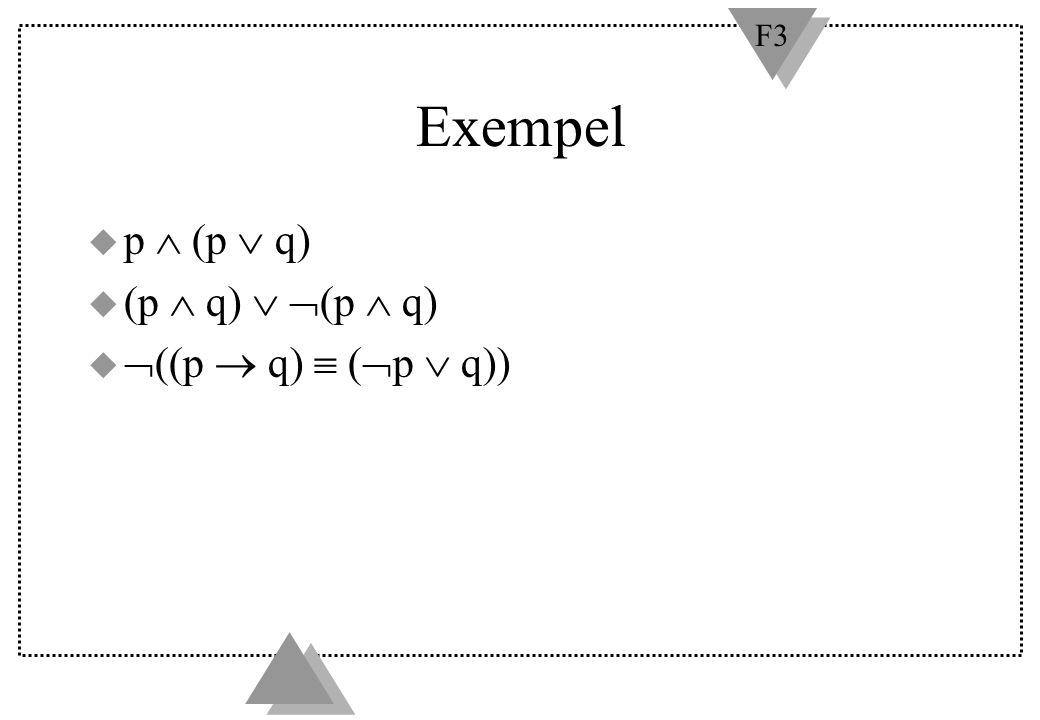 F3 Exempel u p  (p  q) u (p  q)   (p  q) u  ((p  q)  (  p  q))