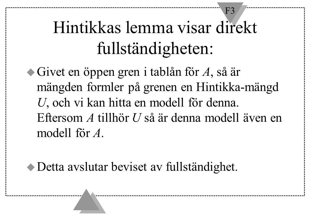 F3 Hintikkas lemma visar direkt fullständigheten: u Givet en öppen gren i tablån för A, så är mängden formler på grenen en Hintikka-mängd U, och vi ka