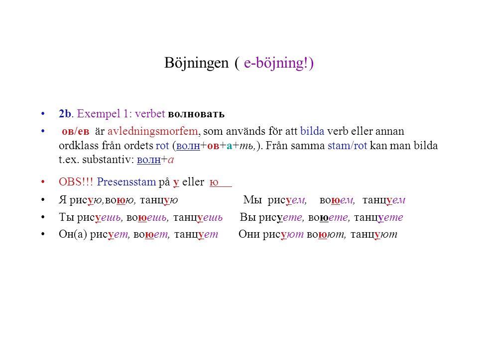 Böjningen ( e-böjning!) 2b. Exempel 1: verbet волновать ов/ев är avledningsmorfem, som används för att bilda verb eller annan ordklass från ordets rot