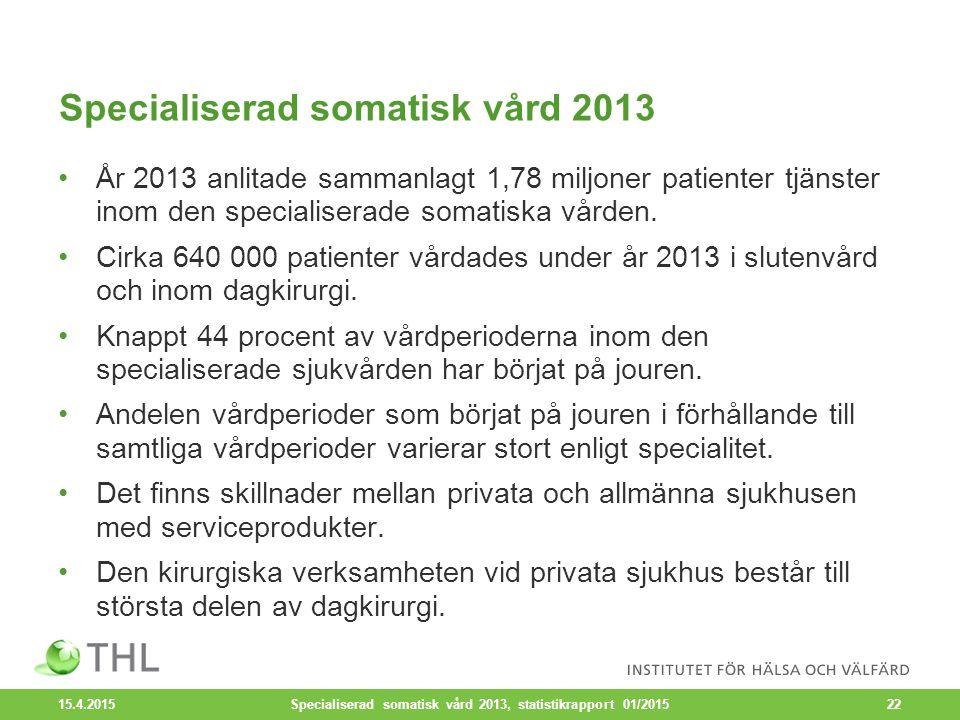 Specialiserad somatisk vård 2013 År 2013 anlitade sammanlagt 1,78 miljoner patienter tjänster inom den specialiserade somatiska vården.