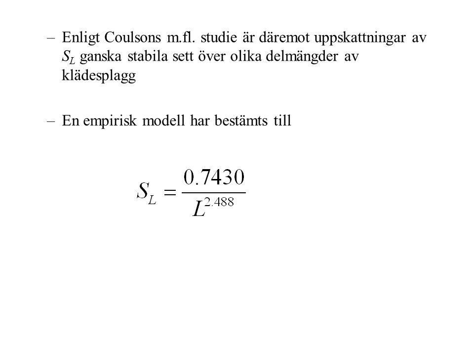 –Enligt Coulsons m.fl. studie är däremot uppskattningar av S L ganska stabila sett över olika delmängder av klädesplagg –En empirisk modell har bestäm