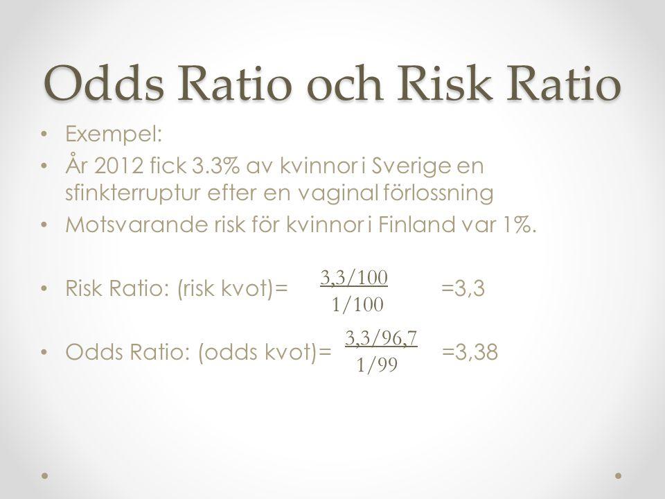 Odds Ratio och Risk Ratio Exempel: År 2012 fick 3.3% av kvinnor i Sverige en sfinkterruptur efter en vaginal förlossning Motsvarande risk för kvinnor i Finland var 1%.