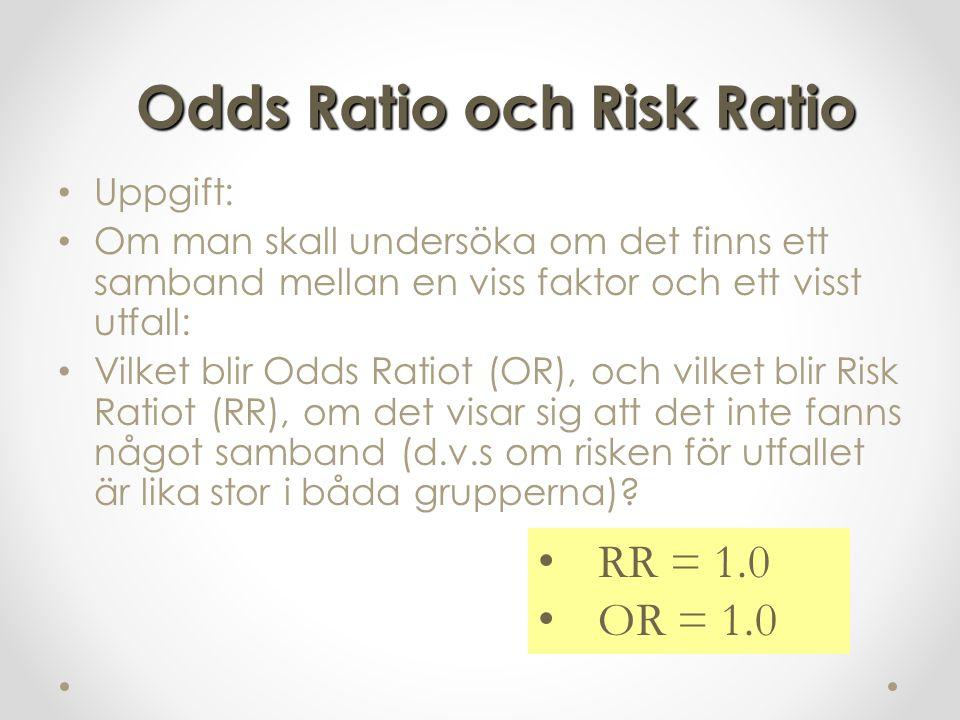 Uppgift: Om man skall undersöka om det finns ett samband mellan en viss faktor och ett visst utfall: Vilket blir Odds Ratiot (OR), och vilket blir Risk Ratiot (RR), om det visar sig att det inte fanns något samband (d.v.s om risken för utfallet är lika stor i båda grupperna).