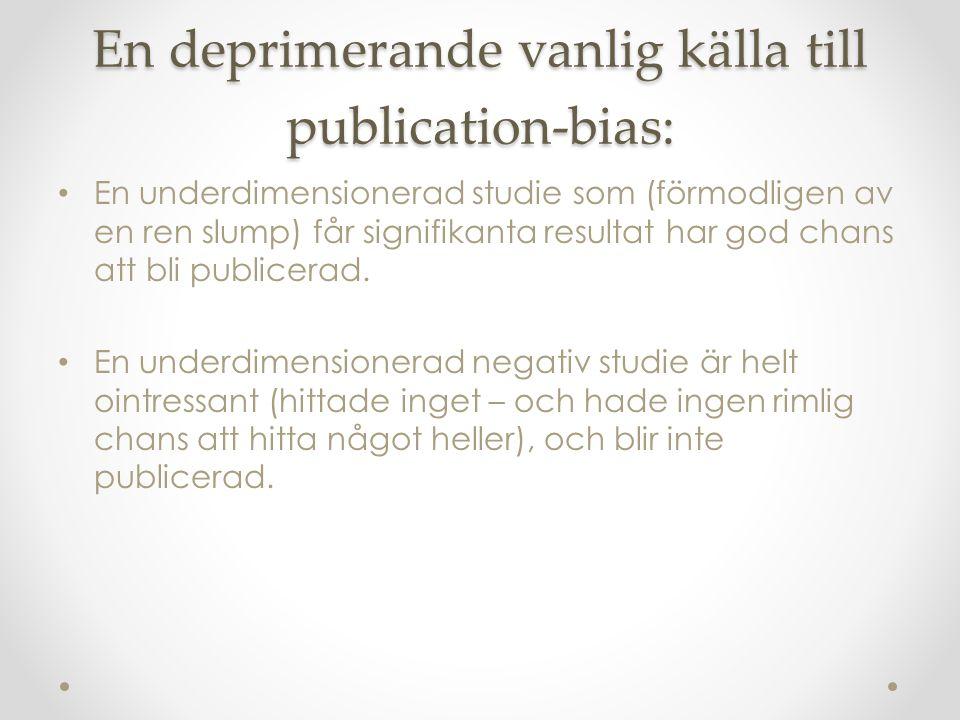 En deprimerande vanlig källa till publication-bias: En underdimensionerad studie som (förmodligen av en ren slump) får signifikanta resultat har god chans att bli publicerad.