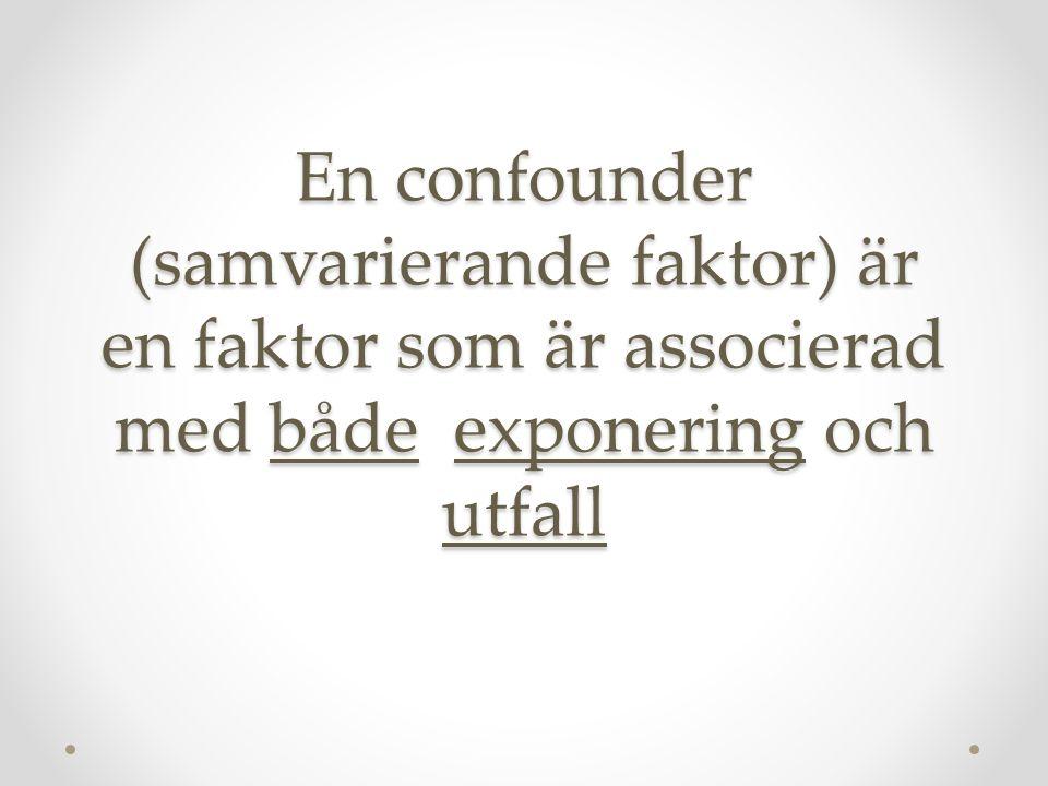 En confounder (samvarierande faktor) är en faktor som är associerad med både exponering och utfall
