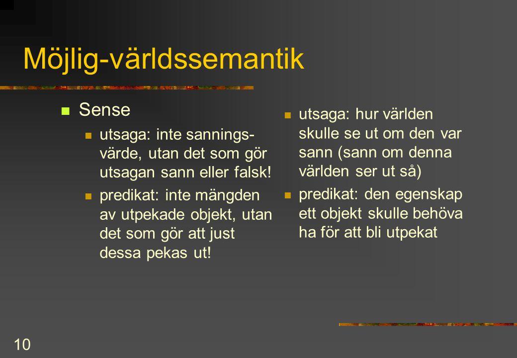 10 Möjlig-världssemantik Sense utsaga: inte sannings- värde, utan det som gör utsagan sann eller falsk.