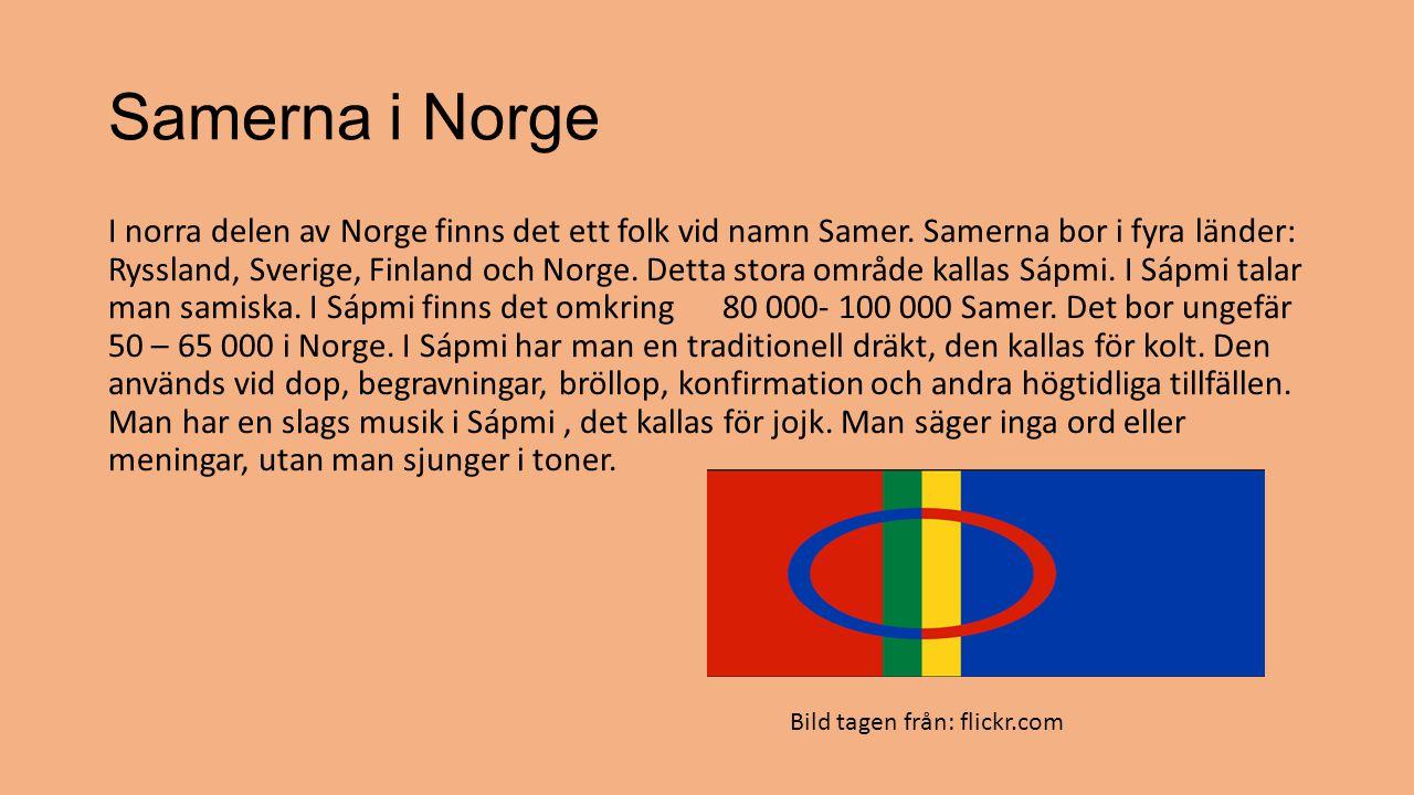 Samerna i Norge I norra delen av Norge finns det ett folk vid namn Samer. Samerna bor i fyra länder: Ryssland, Sverige, Finland och Norge. Detta stora