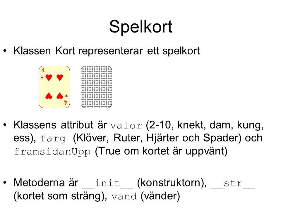 Spelkort Klassen Kort representerar ett spelkort Klassens attribut är valor (2-10, knekt, dam, kung, ess), farg (Klöver, Ruter, Hjärter och Spader) oc