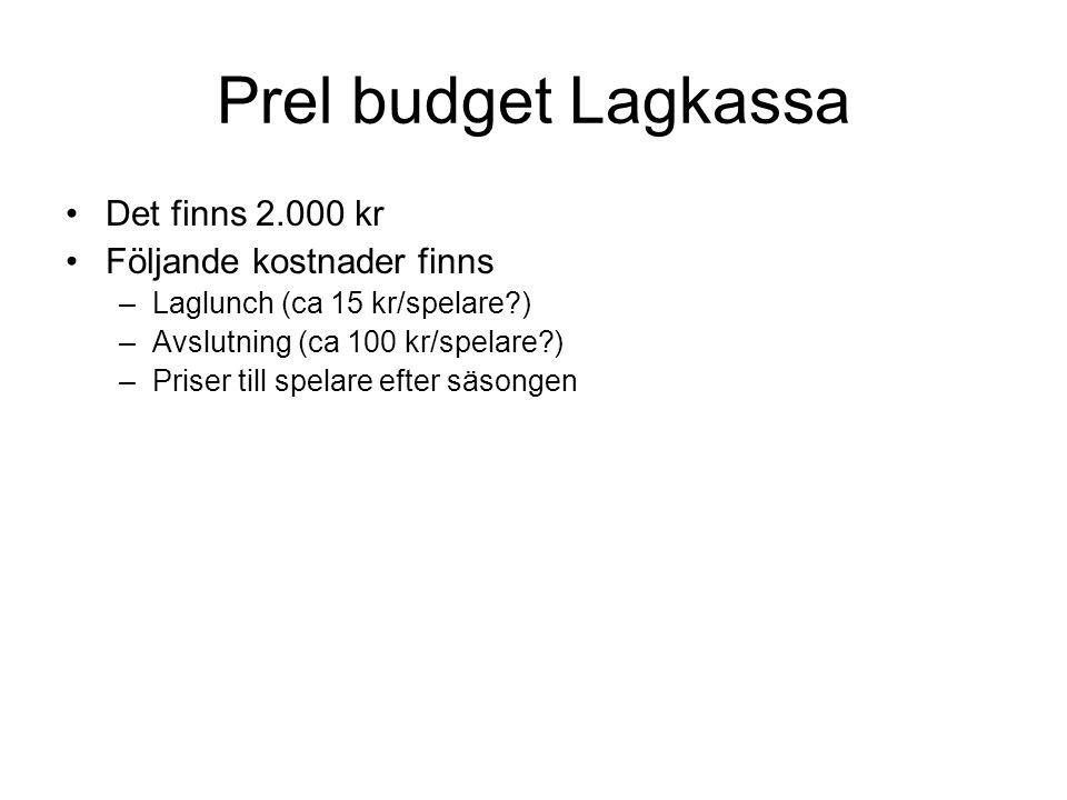 Prel budget Lagkassa Det finns 2.000 kr Följande kostnader finns –Laglunch (ca 15 kr/spelare?) –Avslutning (ca 100 kr/spelare?) –Priser till spelare efter säsongen