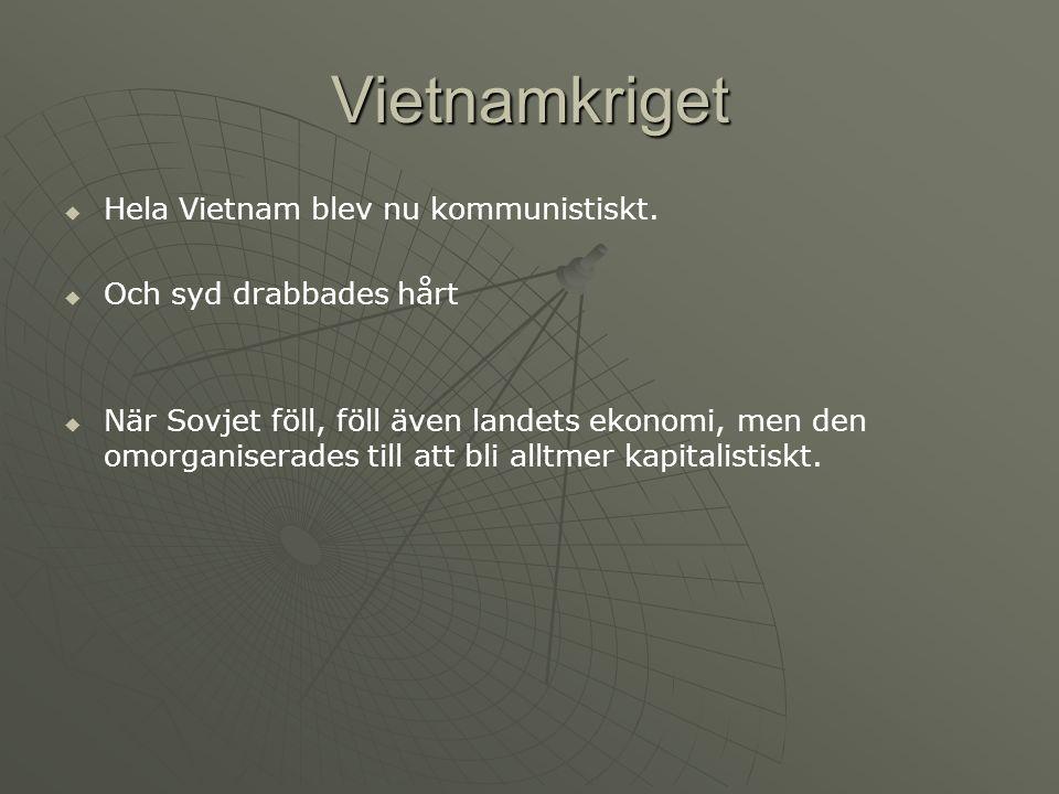 Vietnamkriget   Hela Vietnam blev nu kommunistiskt.   Och syd drabbades hårt   När Sovjet föll, föll även landets ekonomi, men den omorganiserad
