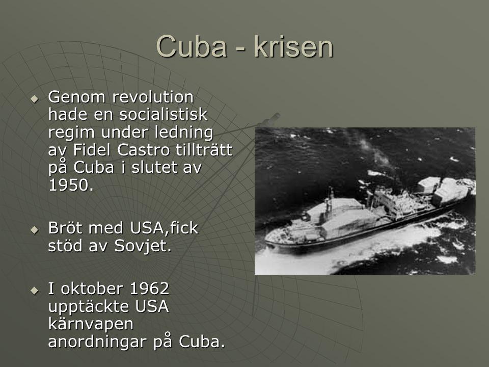Cuba - krisen  Genom revolution hade en socialistisk regim under ledning av Fidel Castro tillträtt på Cuba i slutet av 1950.