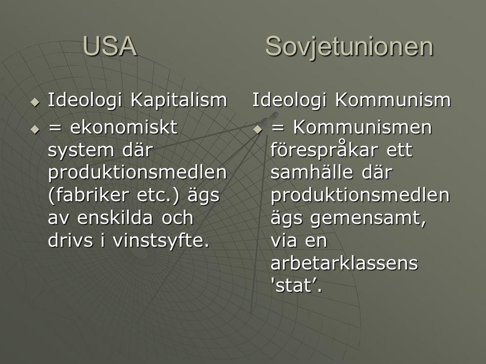 USA Sovjetunionen USA Sovjetunionen  Ideologi Kapitalism  = ekonomiskt system där produktionsmedlen (fabriker etc.) ägs av enskilda och drivs i vinstsyfte.