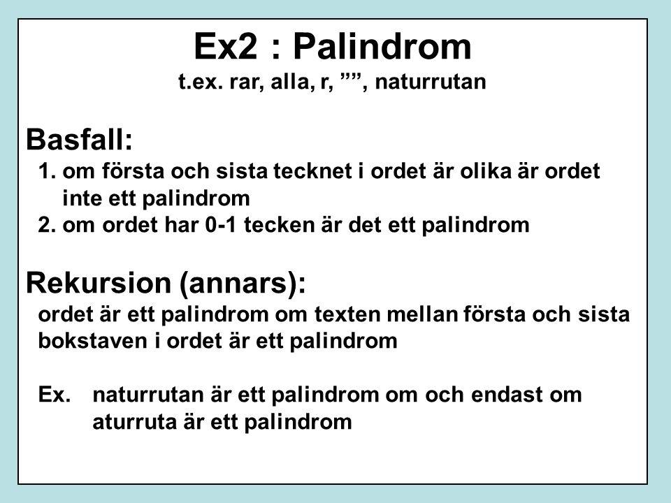 """Ex2 : Palindrom t.ex. rar, alla, r, """""""", naturrutan Basfall: 1. om första och sista tecknet i ordet är olika är ordet inte ett palindrom 2. om ordet ha"""