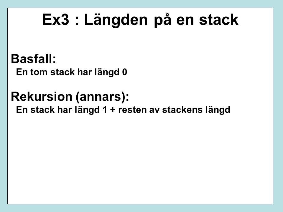 Ex3 : Längden på en stack Basfall: En tom stack har längd 0 Rekursion (annars): En stack har längd 1 + resten av stackens längd