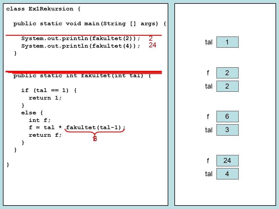 Tidskomplexitet for (int i = 0; i <= n; i++) { for (int j = 0; j <= i; j++) { sum++; } k + 2k + … + nk = k * (1+2 + … + n) = k * (n 2 +n)/2 = O(n 2 ) k