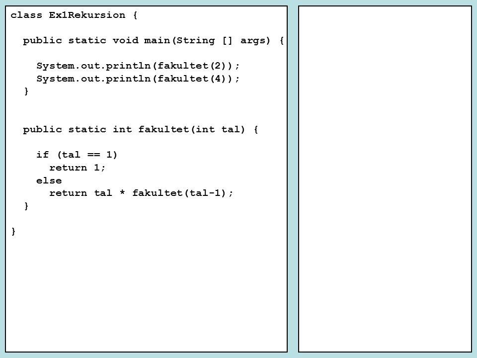 Tidskomplexitet Algoritmn = 100n = 500 k 1 * n0,5 ms2,5 ms5x längre k 2 * n 2 0,5 ms12,5 ms25x längre k 3 * n 3 0,5 ms62,5 ms125x längre k 4 * 2 n 0,5 ms1,3*10 120 ms = 4,1*10 109 år 2,6 * 10 120 x längre jämförtid