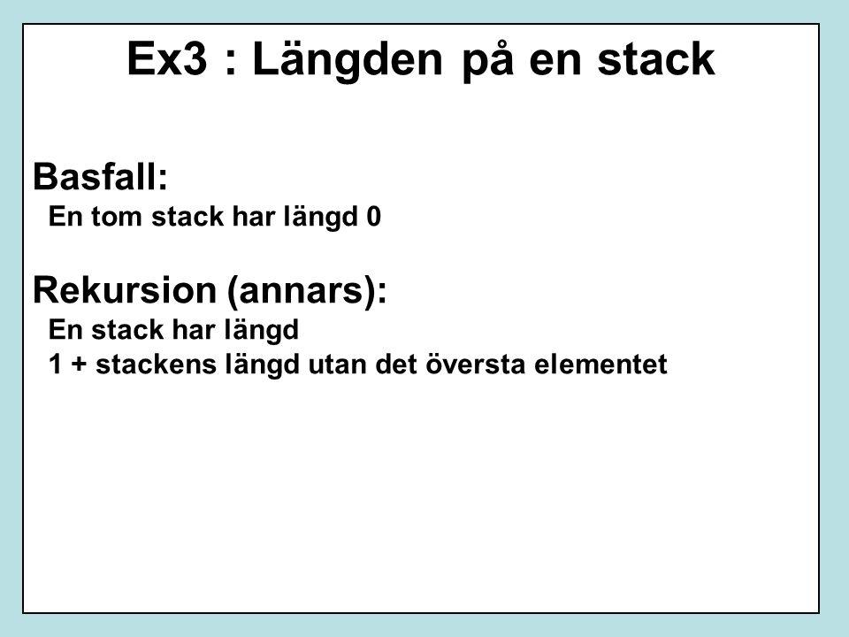 Ex3 : Längden på en stack Basfall: En tom stack har längd 0 Rekursion (annars): En stack har längd 1 + stackens längd utan det översta elementet