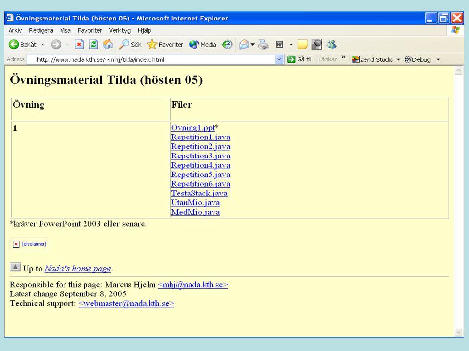 class RekursionStack { public static void main(String [] args) { Stack stack = new Stack(); stack.push(3); stack.push(5); stack.push(4); System.out.println(stack.lenght()); } class Node { public int nr; public Node next; public Node(int nr) { this.nr = nr; next = null; } class Stack { private Node top; public Stack() { top = null; } public int lenght() { return lenght(top); } private int lenght(Node n) { if (n == null) // basfall return 0; else // rekursion return 1 + lenght(n.next); } public void push(int nr) { Node node = new Node(nr); node.next = top; top = node; } public int pop() { int nr = top.nr; top = top.next; return nr; } stack null top 3 nr null next null 5 nr next 4 nr null next 3 n null n n n