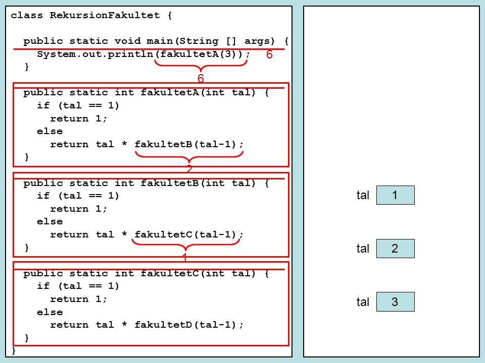 class RekursionFakultet { public static void main(String [] args) { System.out.println(fakultet(2)); System.out.println(fakultet(4)); } public static int fakultet(int tal) { if (tal == 1) { return 1; } else { int f; f = tal * fakultet(tal-1); return f; } 2 2 tal 0 f 1 2 0 f 6 2 0 f 2 1 3 24 4 1 2 6