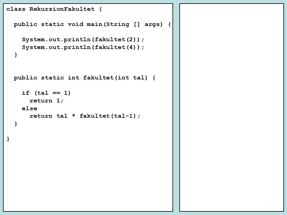 Ex2 : Palindrom t.ex.rar, alla, r, , naturrutan Basfall: 1.