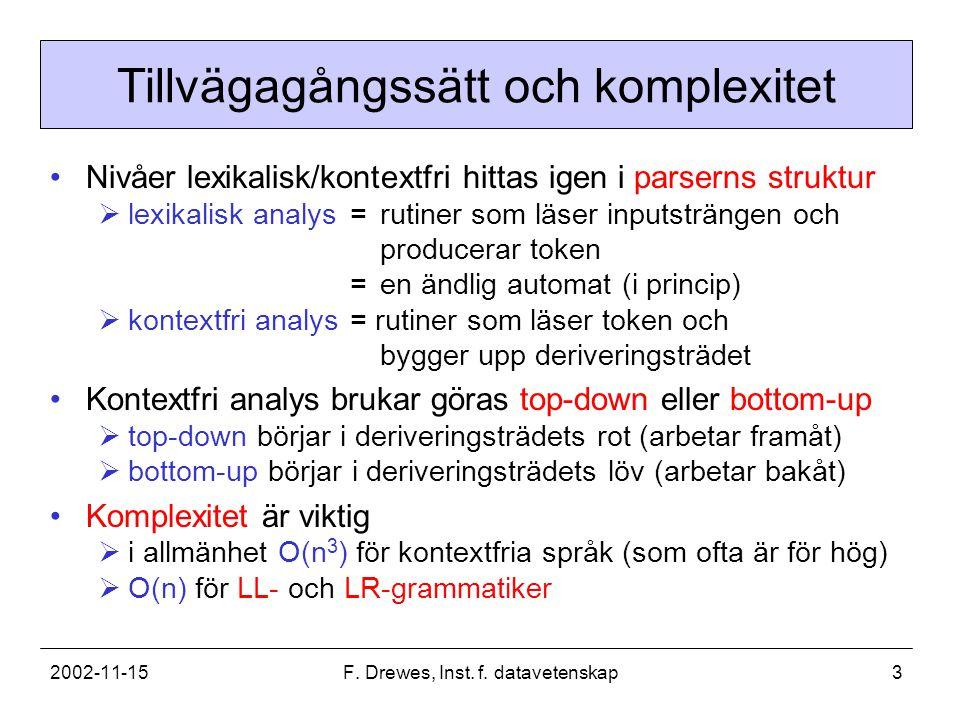 2002-11-15F. Drewes, Inst. f. datavetenskap3 Tillvägagångssätt och komplexitet Nivåer lexikalisk/kontextfri hittas igen i parserns struktur  lexikali