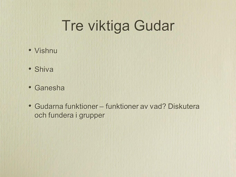Tre viktiga Gudar Vishnu Shiva Ganesha Gudarna funktioner – funktioner av vad? Diskutera och fundera i grupper Vishnu Shiva Ganesha Gudarna funktioner