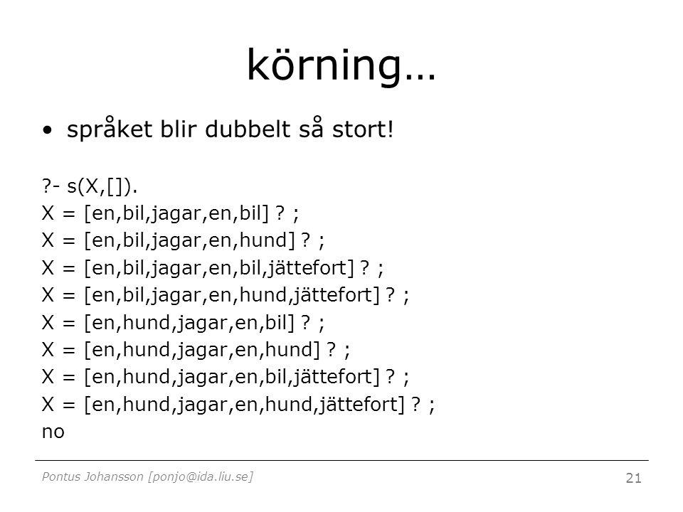 Pontus Johansson [ponjo@ida.liu.se] 21 körning… språket blir dubbelt så stort! ?- s(X,[]). X = [en,bil,jagar,en,bil] ? ; X = [en,bil,jagar,en,hund] ?