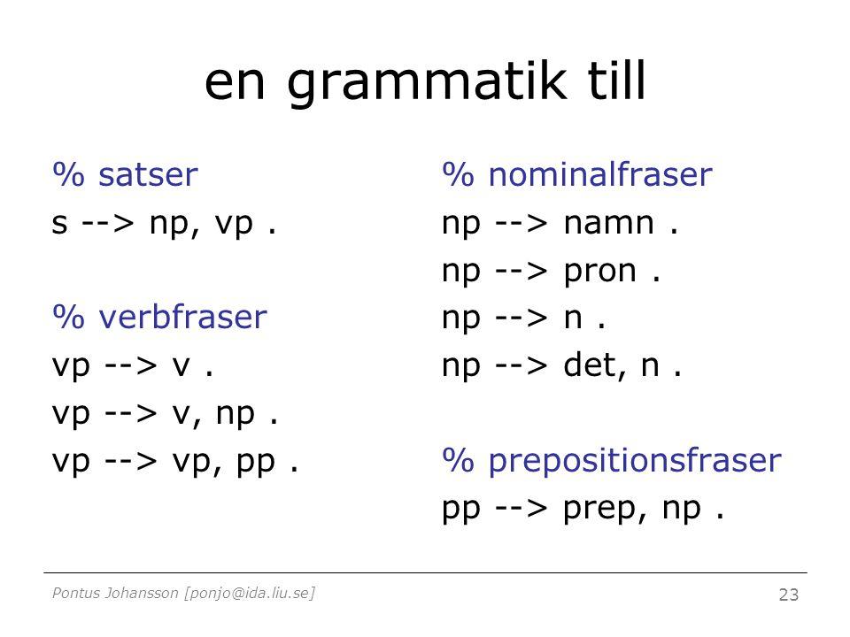Pontus Johansson [ponjo@ida.liu.se] 23 en grammatik till % satser s --> np, vp. % verbfraser vp --> v. vp --> v, np. vp --> vp, pp. % nominalfraser np