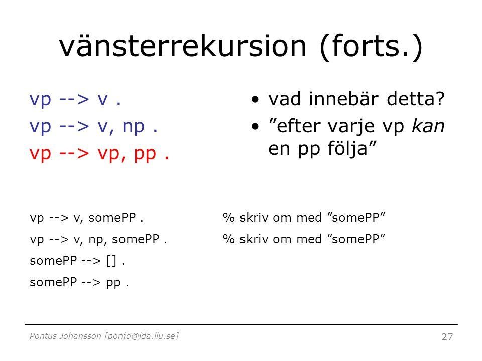 """Pontus Johansson [ponjo@ida.liu.se] 27 vänsterrekursion (forts.) vp --> v. vp --> v, np. vp --> vp, pp. vad innebär detta? """"efter varje vp kan en pp f"""