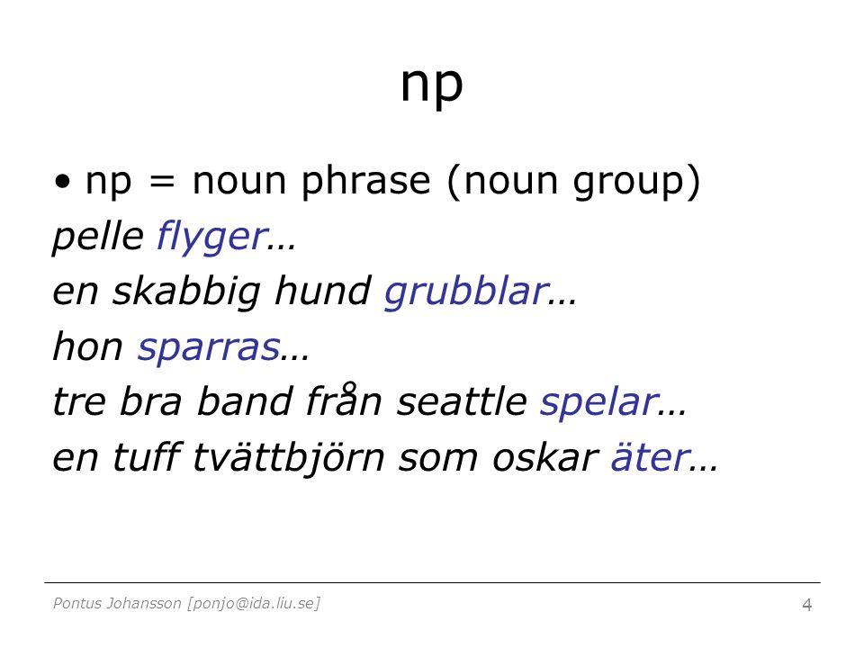 Pontus Johansson [ponjo@ida.liu.se] 4 np np = noun phrase (noun group) pelle flyger… en skabbig hund grubblar… hon sparras… tre bra band från seattle spelar… en tuff tvättbjörn som oskar äter…