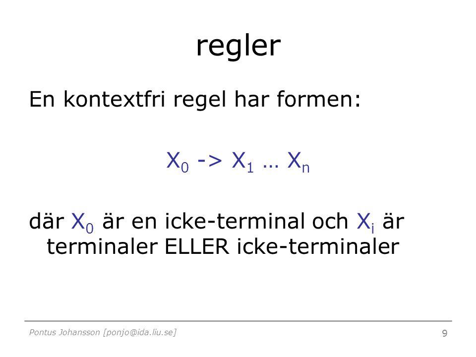 Pontus Johansson [ponjo@ida.liu.se] 9 regler En kontextfri regel har formen: X 0 -> X 1 … X n där X 0 är en icke-terminal och X i är terminaler ELLER icke-terminaler