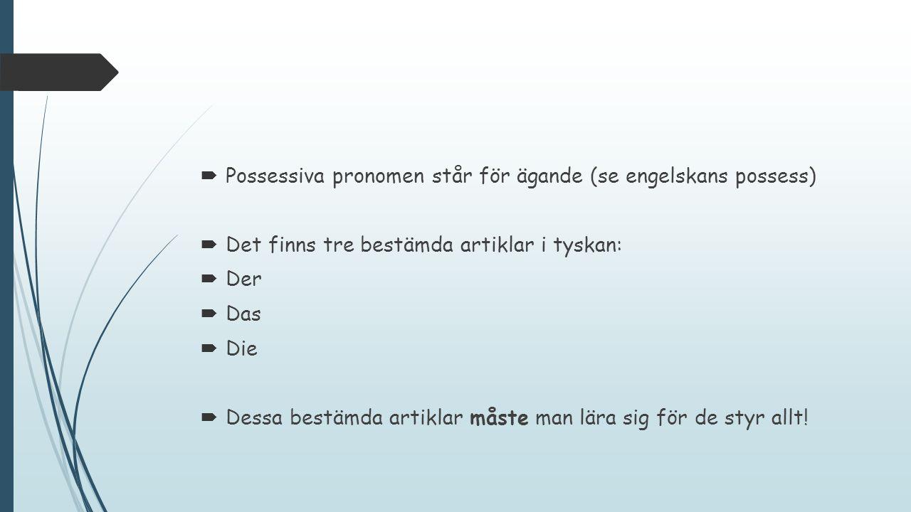  Possessiva pronomen står för ägande (se engelskans possess)  Det finns tre bestämda artiklar i tyskan:  Der  Das  Die  Dessa bestämda artiklar