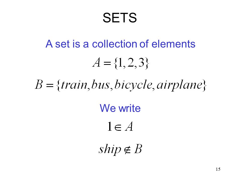 15 A set is a collection of elements SETS We write