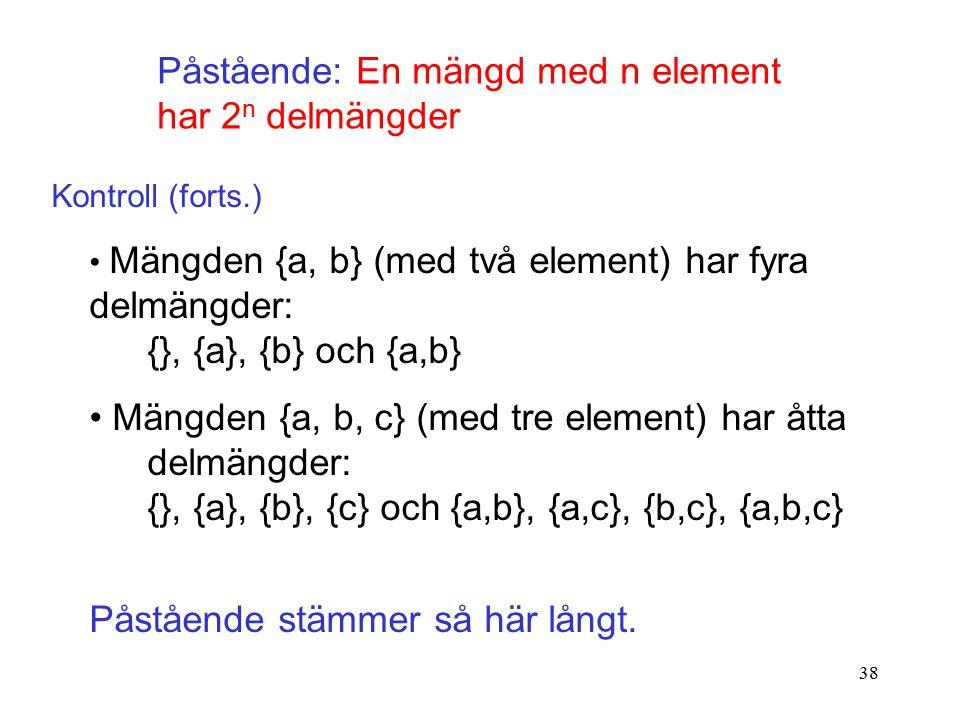 38 Påstående: En mängd med n element har 2 n delmängder Kontroll (forts.) Mängden {a, b} (med två element) har fyra delmängder: {}, {a}, {b} och {a,b} Mängden {a, b, c} (med tre element) har åtta delmängder: {}, {a}, {b}, {c} och {a,b}, {a,c}, {b,c}, {a,b,c} Påstående stämmer så här långt.