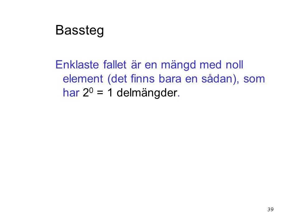 39 Bassteg Enklaste fallet är en mängd med noll element (det finns bara en sådan), som har 2 0 = 1 delmängder.