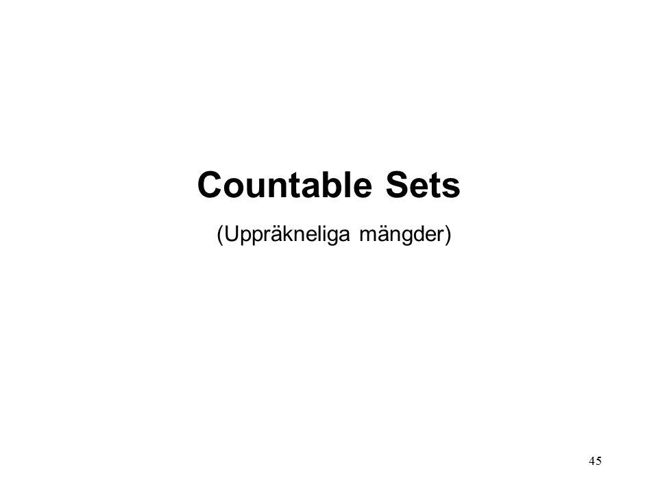 45 Countable Sets (Uppräkneliga mängder)