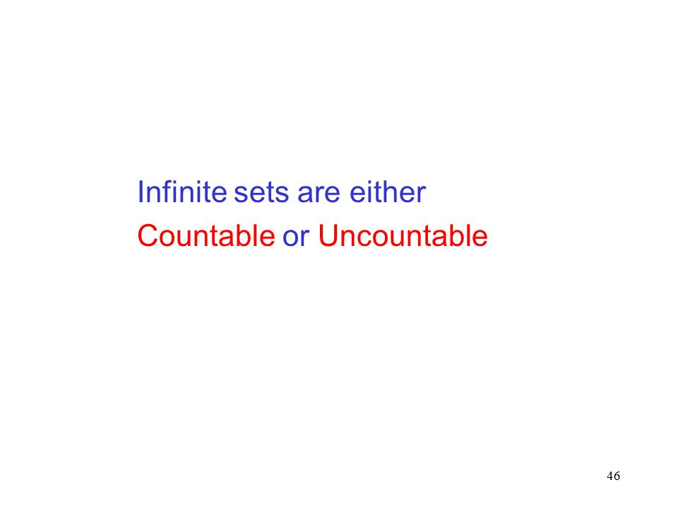 46 Infinite sets are either Countable or Uncountable